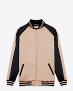 SAINT LAURENT Casual Jackets D Oversized TEDDY Baseball Jacket in Powder Pink and Black Washed Satin Viscose f