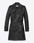 SAINT LAURENT Lederjacke D Babydoll Trench Coat in Black Leather f
