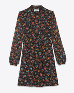 SAINT LAURENT Dresses D Folk Dress in Black and Multicolor Wild Flower Printed Silk Georgette f