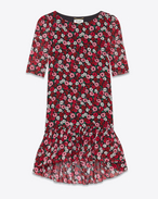SAINT LAURENT Dresses D Babydoll Dress in Black, Fuchsia and Red Anemone Printed Silk Georgette f