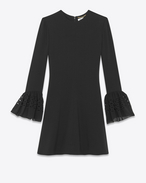 SAINT LAURENT Dresses D Bell Sleeve Dress in Black Acetate and Viscose Sablé f