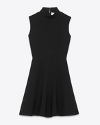SAINT LAURENT Kleider D Stand-Up Collar Mini Dress in Black Virgin Wool Crêpe f
