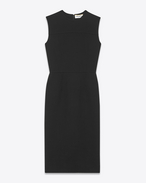 SAINT LAURENT Kleider D Sleeveless Midi Dress in Black Virgin Wool Crêpe f