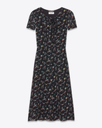 SAINT LAURENT LONG DRESSES D Short Sleeve Lavaliere Dress in Black and Multicolor Prairie Flower Printed Silk Georgette f