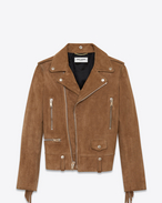 SAINT LAURENT Leather jacket D Classic Fringed Motorcycle Jacket in Tobacco Suede f