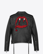 SAINT LAURENT Lederjacke D BLOOD LUSTER Motorcycle Jacket in Black Slouchy Leather and Red and White Beading f