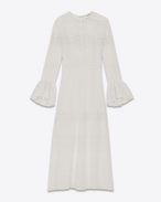 SAINT LAURENT LONG DRESSES D Bell Sleeve Midi Dress in Shell Embroidered Silk, Viscose and Cotton f