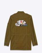 "SAINT LAURENT Casual Jacken D ""LOVE"" Patch Military Parka in Military Khaki Cotton and Linen Gabardine f"
