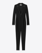 SAINT LAURENT LONG DRESSES D Iconic LE SMOKING Jumpsuit in Grain de Poudre Organic Virgin Wool f