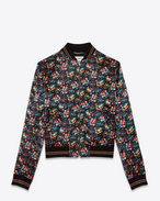 SAINT LAURENT Casual Jackets D TEDDY Baseball Jacket in Black and Multicolor Wild Flower Printed Satin Viscose f