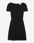 SAINT LAURENT Dresses D 70's Mini Dress in Black Virgin Wool Crêpe f