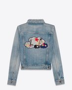 "SAINT LAURENT Casual Jacken D Original ""LOVE"" Jean Jacket in Light Blue Denim f"