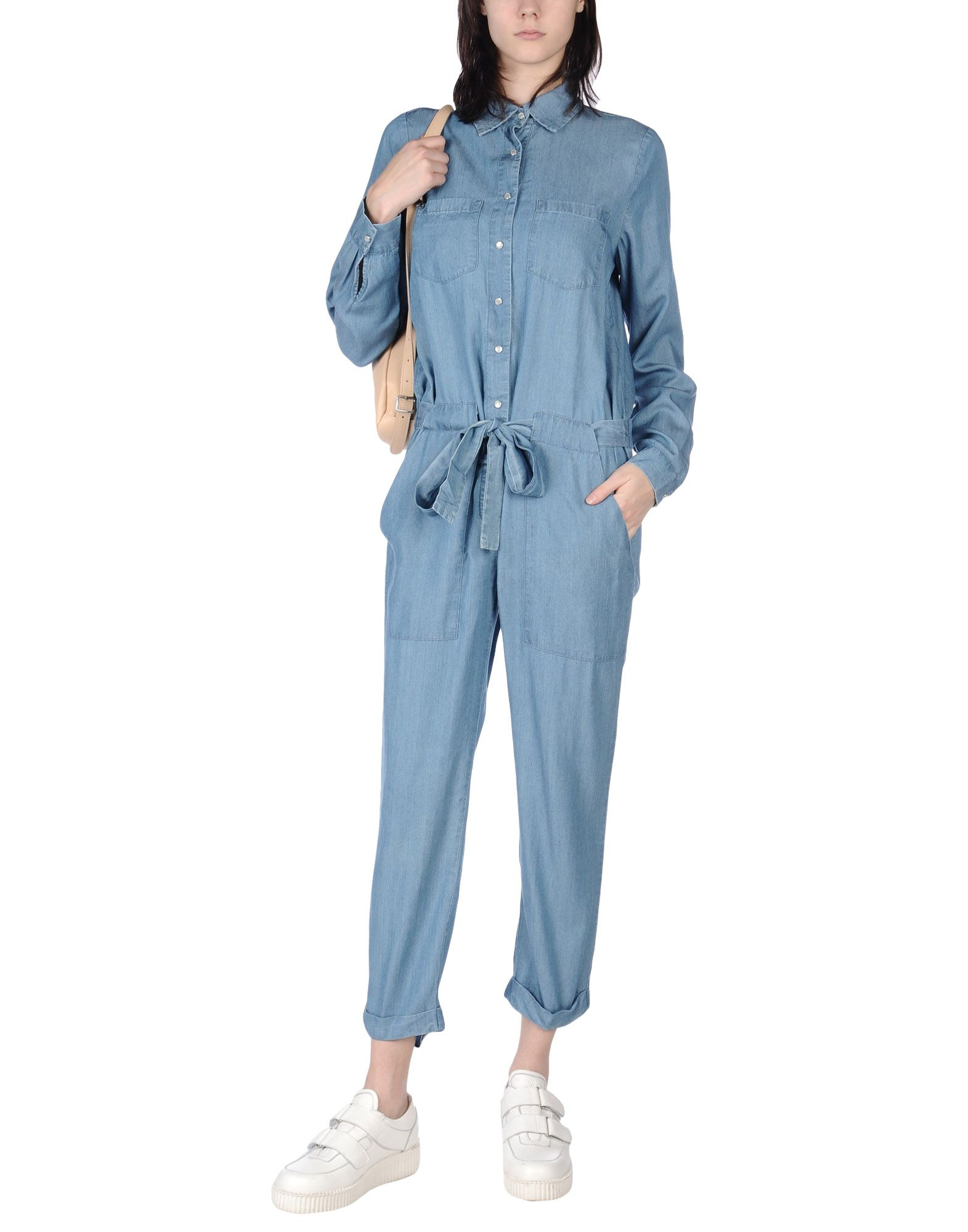 FORNARINA Damen Langer Overall Farbe Blau Größe 5
