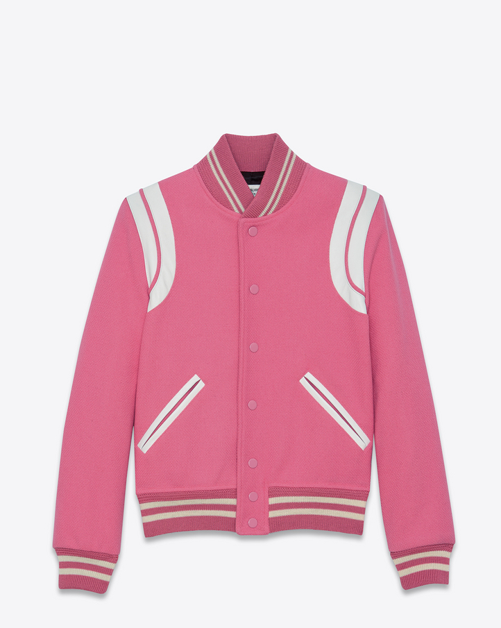 Mens White Bomber Jacket Saint Laurent Teddy Jacket In Rose Virgin Wool And Off ...
