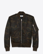 SAINT LAURENT Casual Jackets U Classic Bomber Jacket in Black and Khaki Camouflage Nylon f