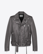 SAINT LAURENT Leather jacket U signature motorcycle jacket in dark anthracite leather f