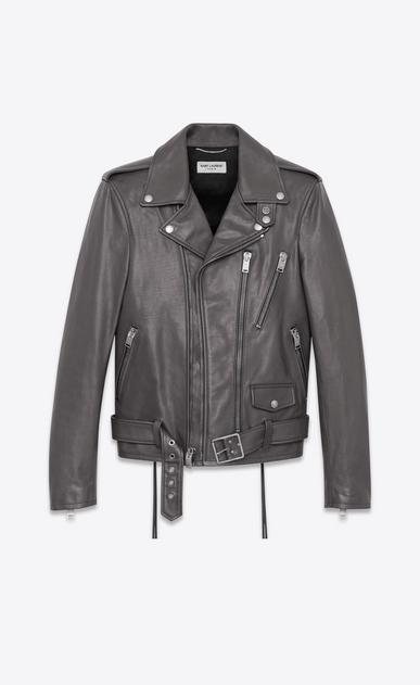 SAINT LAURENT Leather jacket U signature motorcycle jacket in dark anthracite leather a_V4
