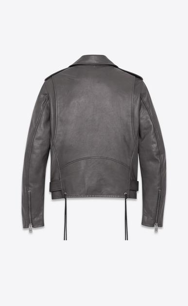 SAINT LAURENT Leather jacket U signature motorcycle jacket in dark anthracite leather b_V4