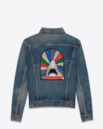 "SAINT LAURENT Casual Jackets U Original Oversized ""SWEET DREAMS"" Shark Jean Jacket in Dirty Medium Blue Vintage Denim f"
