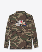 "SAINT LAURENT Giacche Casual U Giacca ""LOVE"" force Vintage camouflage in cotone f"