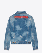 "SAINT LAURENT Casual Jackets U Original Oversized ""SWEET DREAMS"" Jean Jacket in Medium Blue Bleached Denim f"
