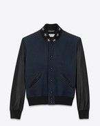 SAINT LAURENT Casual Jacken U TEDDY AMERICA Jacket in Navy Blue Virgin Wool and Black Leather f