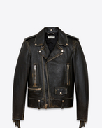 SAINT LAURENT Leather jacket U Classic Fringed Motorcycle Jacket in Black and Beige Distressed Leather f