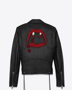 SAINT LAURENT Lederjacke U BLOOD LUSTER Motorcycle Jacket in Black Slouchy Leather and Red and White Beading f