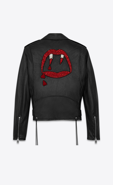 SAINT LAURENT Leather jacket Man BLOOD LUSTER Motorcycle Jacket in Black Slouchy Leather and Red and White Beading a_V4
