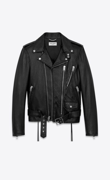 SAINT LAURENT Leather jacket Man BLOOD LUSTER Motorcycle Jacket in Black Slouchy Leather and Red and White Beading b_V4