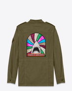 "SAINT LAURENT Giacche Casual U Parka ""SWEET DREAMS"" shark patch Military kaki in cotone e gabardine di lino f"
