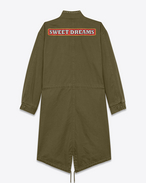 "SAINT LAURENT Giacche Casual U Parka Studded ""SWEET DREAMS"" color kaki grezzo in cotone e lino f"