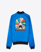 "SAINT LAURENT Giacche Casual U Giubbotto TEDDY ""SWEET DREAMS"" Shark patch blu in viscosa di raso f"