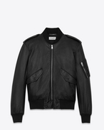Classic Bomber Jacket in Black Slouchy Leather