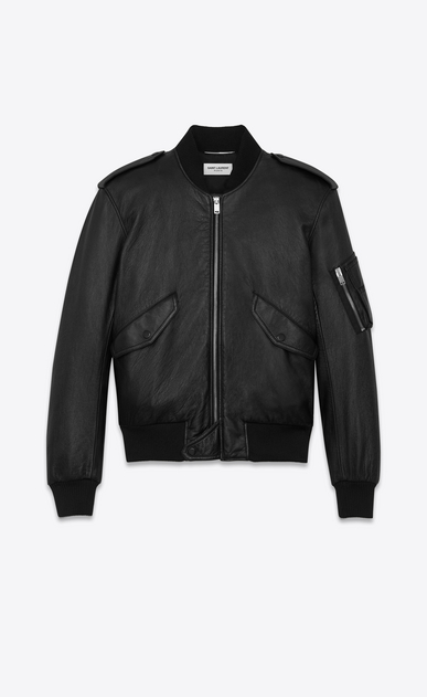 SAINT LAURENT Leather jacket U Classic Bomber Jacket in Black Slouchy Leather a_V4