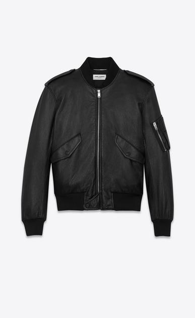 SAINT LAURENT Leather jacket U Classic Bomber Jacket in Black Slouchy Leather v4