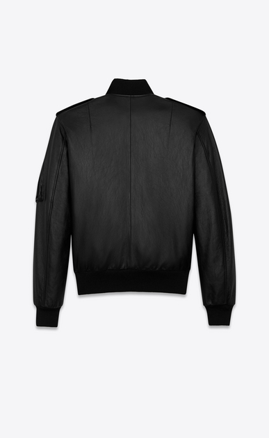 SAINT LAURENT Leather jacket Man bomber jacket in black slouchy leather b_V4