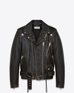SAINT LAURENT Lederjacke U Signature Stars Motorcycle Jacket in Black, Beige and White Distressed Leather f
