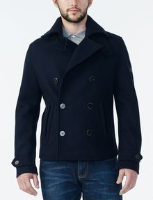 Armani Exchange SHORT DOUBLE BREASTED WOOL PEACOAT, Jacket for Men ...