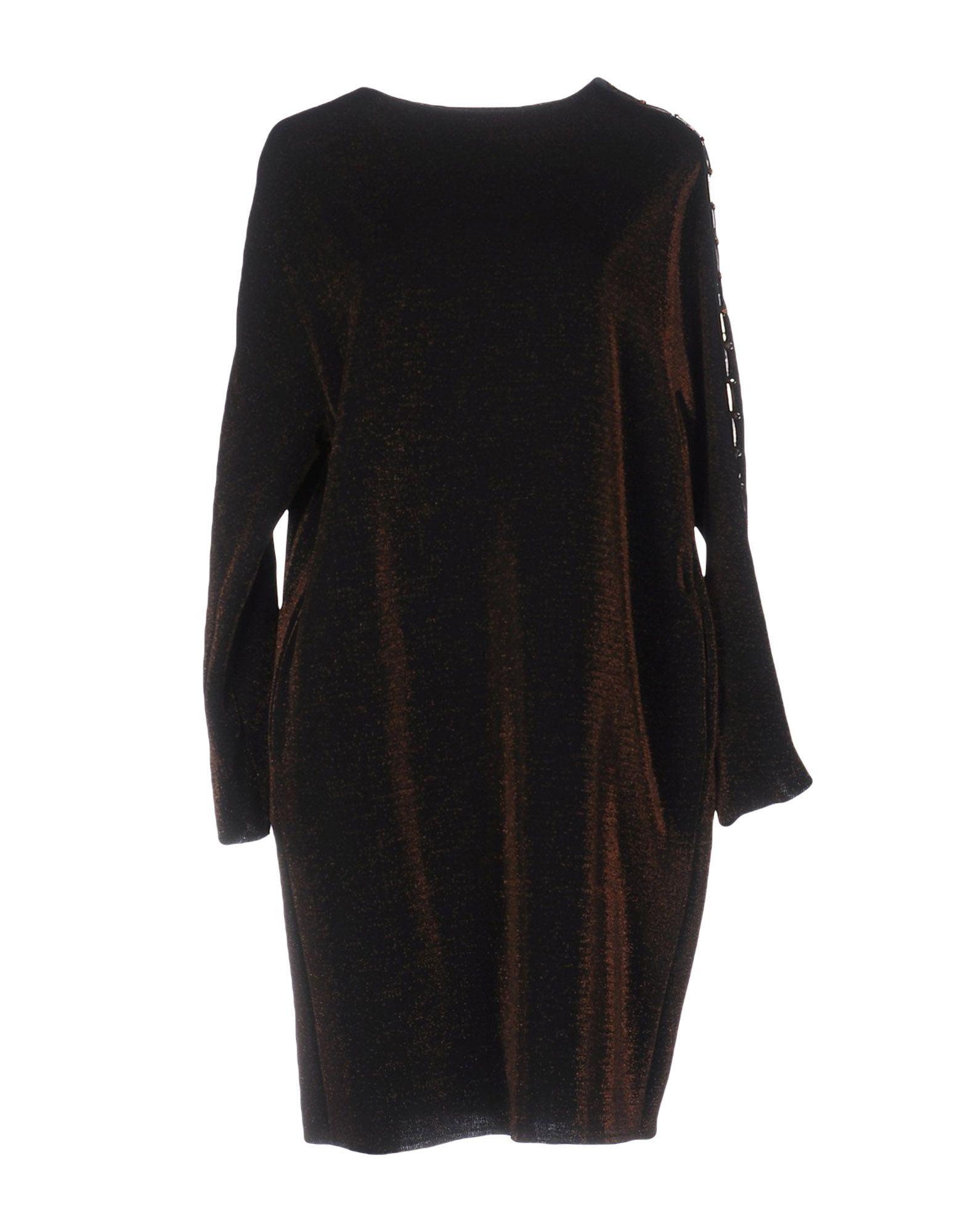 OBLÒ Damen Kurzes Kleid Farbe Dunkelbraun Größe 5