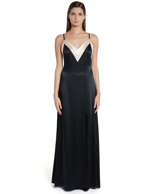 lanvin long satin dress women