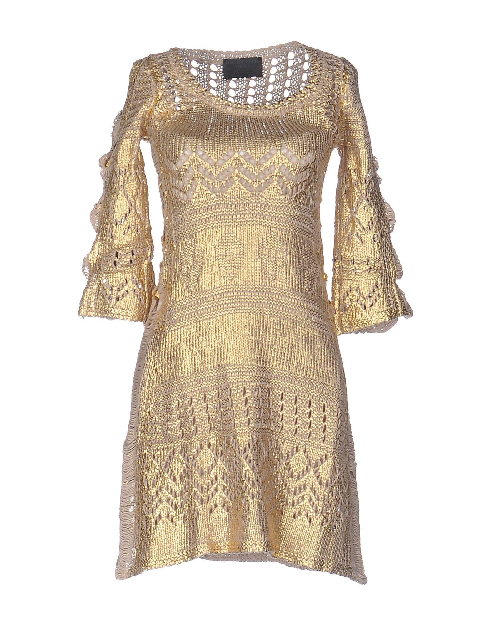PHILIPP PLEIN Damen Kurzes Kleid Farbe Gold Größe 7