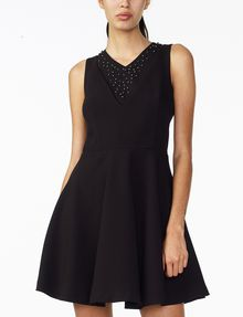ARMANI EXCHANGE STUDDED FIT-AND-FLARE Mini dress Woman f