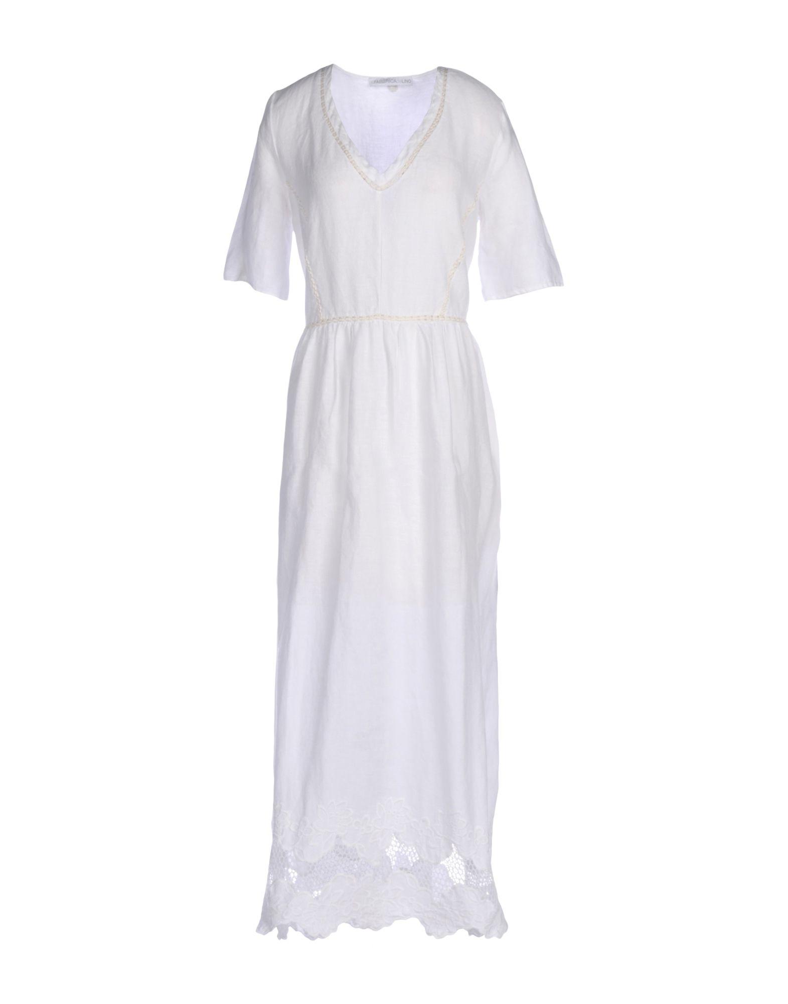 《送料無料》LA FABBRICA del LINO レディース ロングワンピース&ドレス ホワイト M 麻 100%