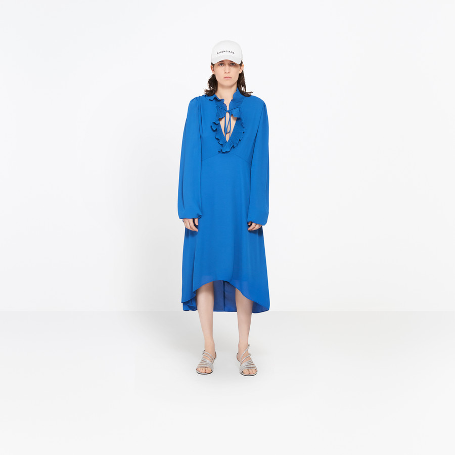 BALENCIAGA Swing Collar Frill Dress Dress D g