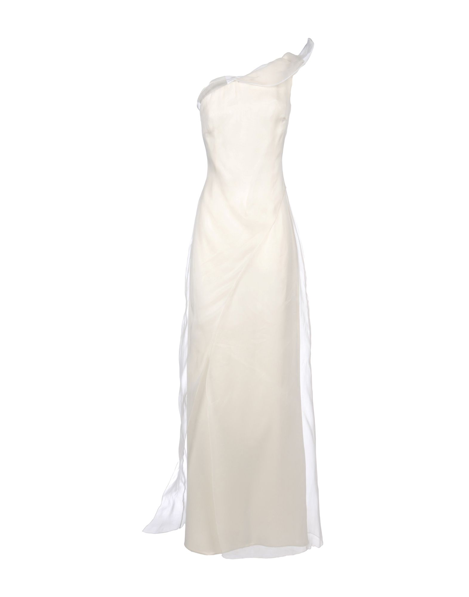 GIORGIO ARMANI Long dresses. satin, organza, basic solid color, deep neckline, sleeveless, no appliqués, no pockets, lined interior, side closure, zip closure, dress, large sized. 100% Silk