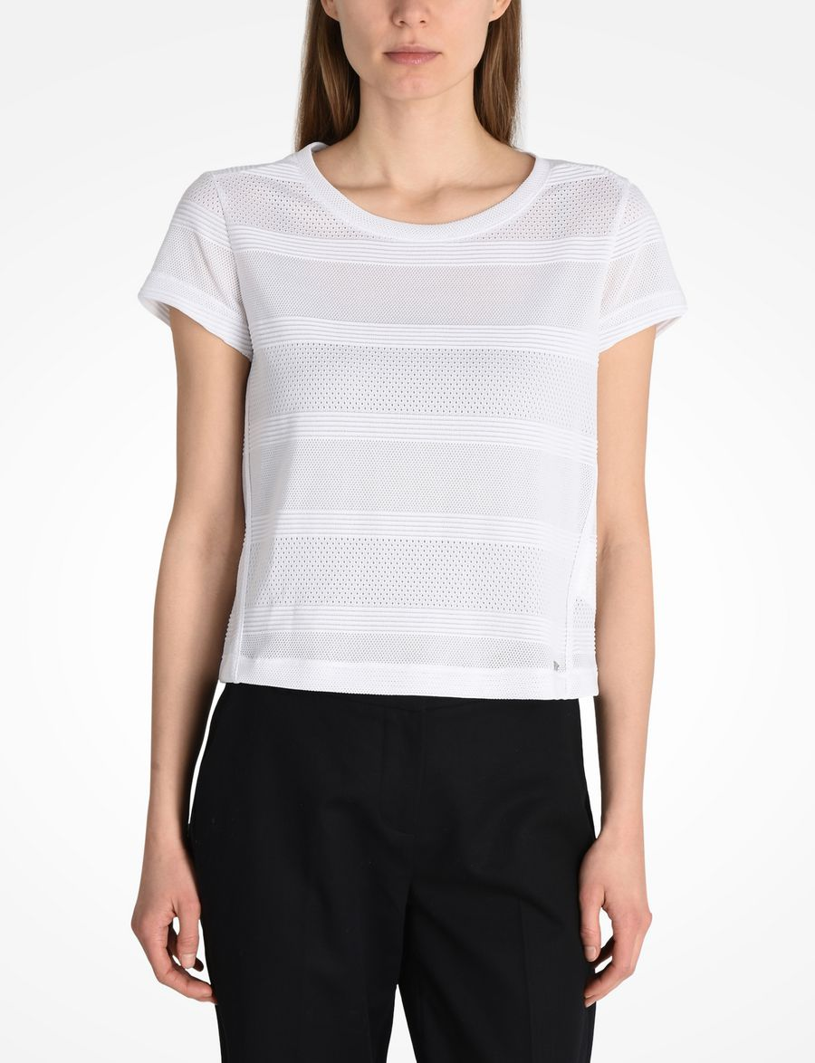 9ef624d924c706 Armani Exchange SHORT SLEEVE MESH CROP TOP