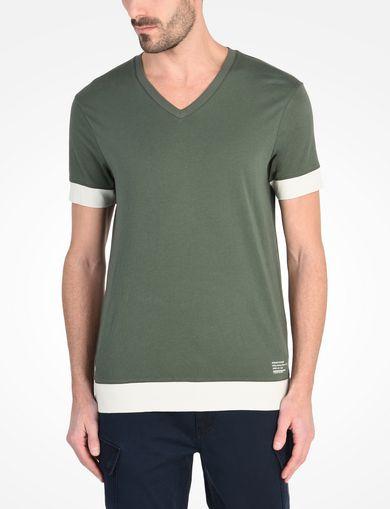 リブ切り替え VネックTシャツ