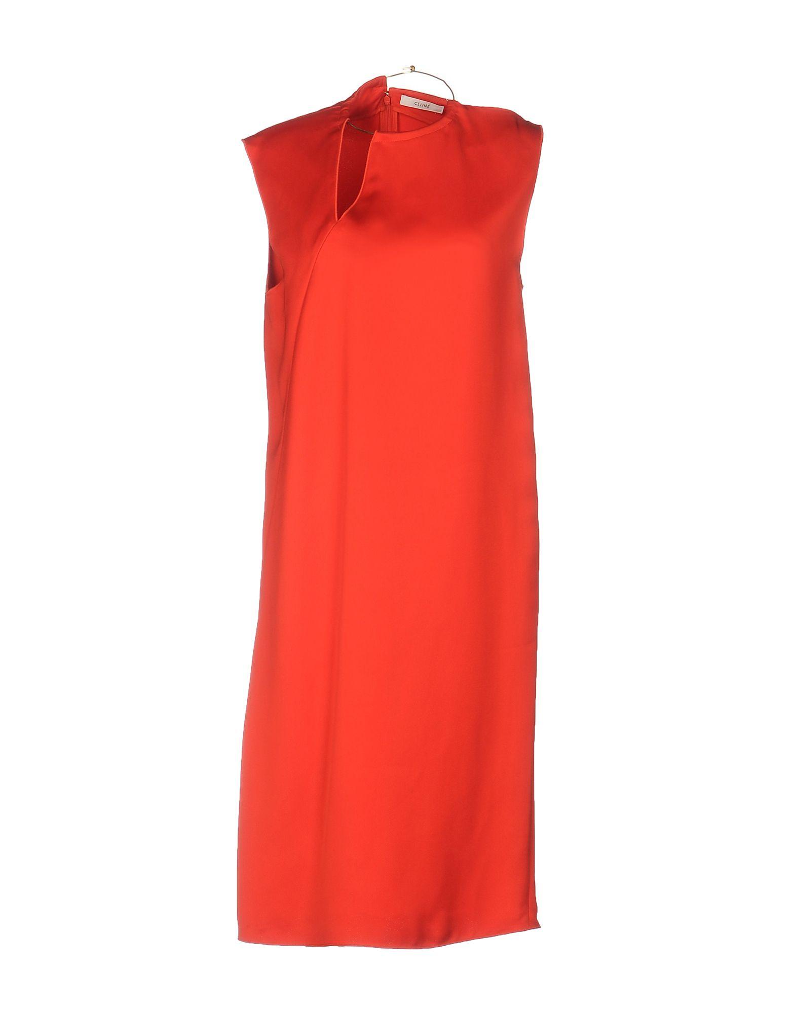 CÉLINE Damen Knielanges Kleid Farbe Rot Größe 5