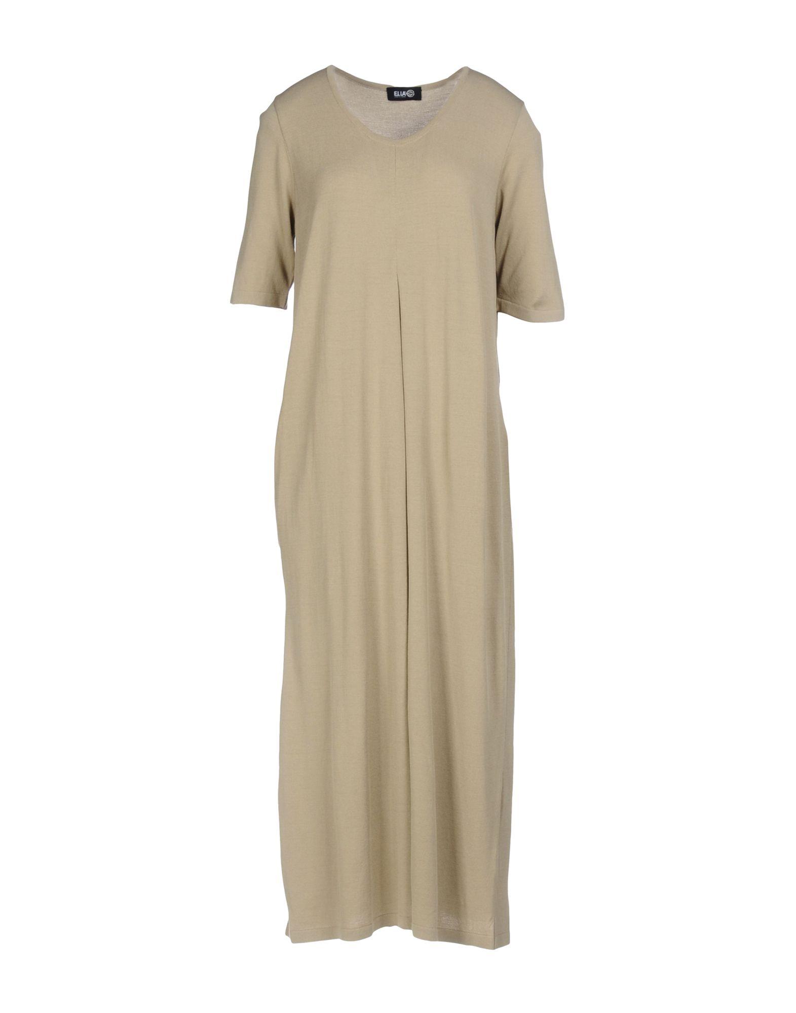 EL LA Damen Knielanges Kleid Farbe Beige Größe 6
